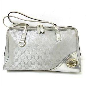 Authentic Gucci Satchel Boston GG Britt Silver